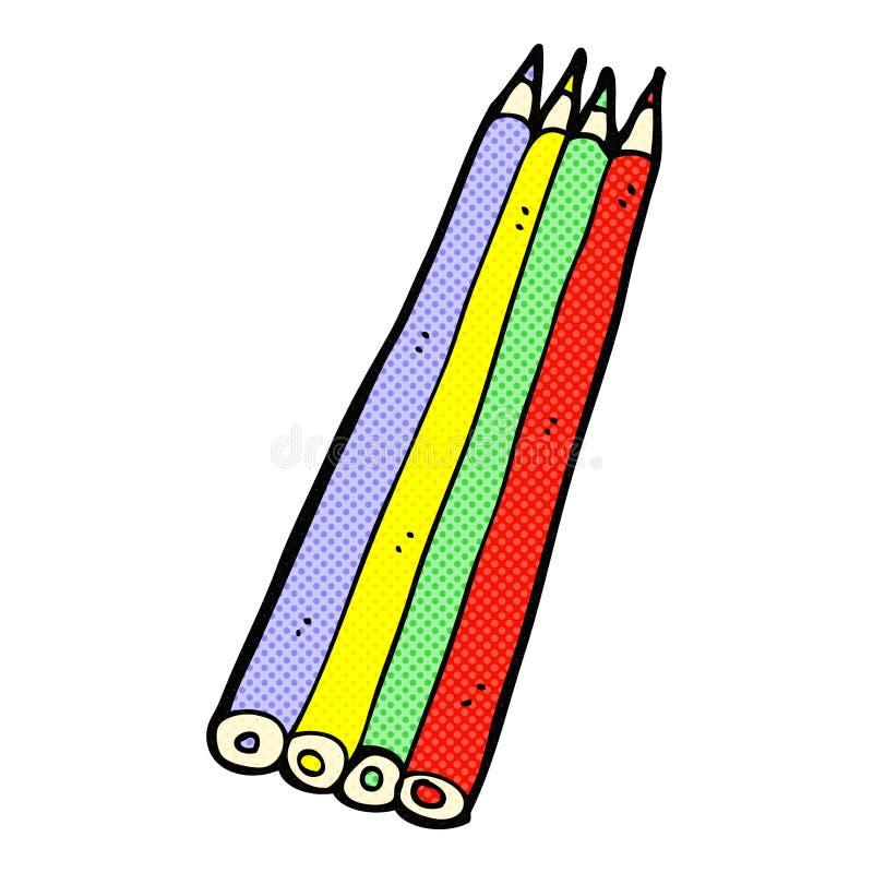 komicznej kreskówki barwioni ołówki royalty ilustracja