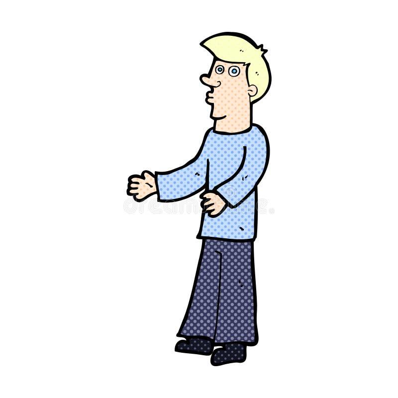 komicznej kreskówki ciekawy mężczyzna ilustracja wektor
