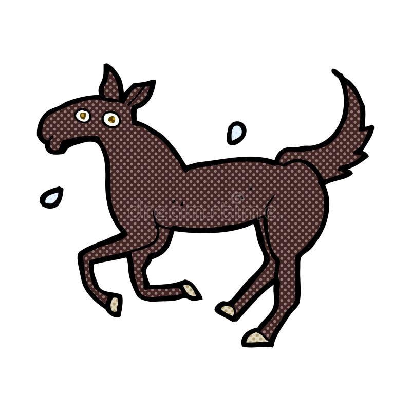 komicznej kreskówki koński pocenie royalty ilustracja