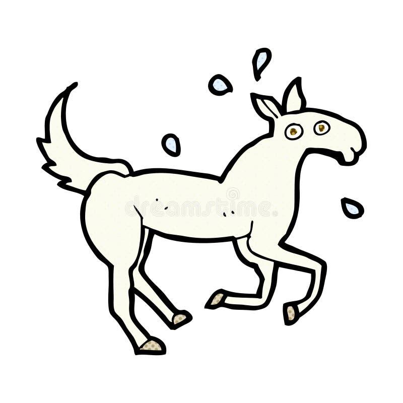 komicznej kreskówki koński pocenie ilustracja wektor