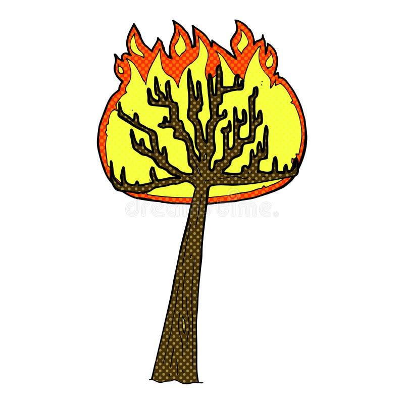 komicznej kreskówki płonący drzewo ilustracja wektor