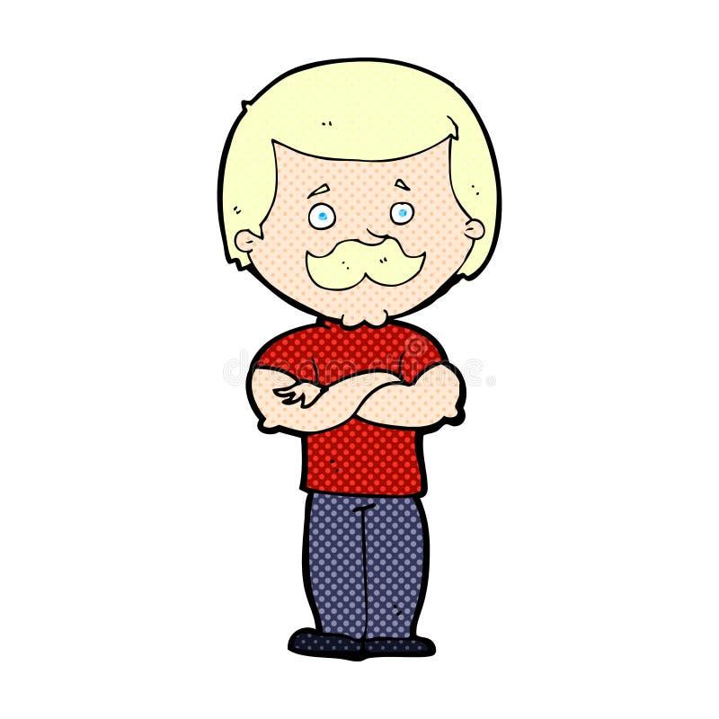 komicznej kreskówki wąsy waleczny mężczyzna ilustracji