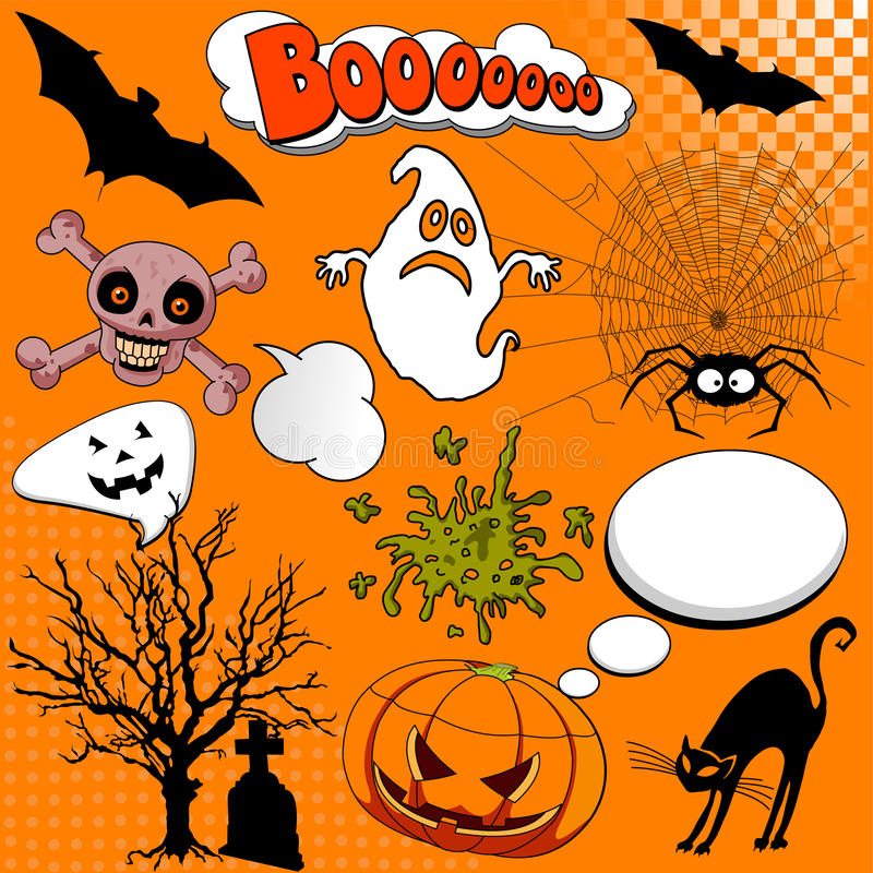 komiczni elementy Halloween royalty ilustracja