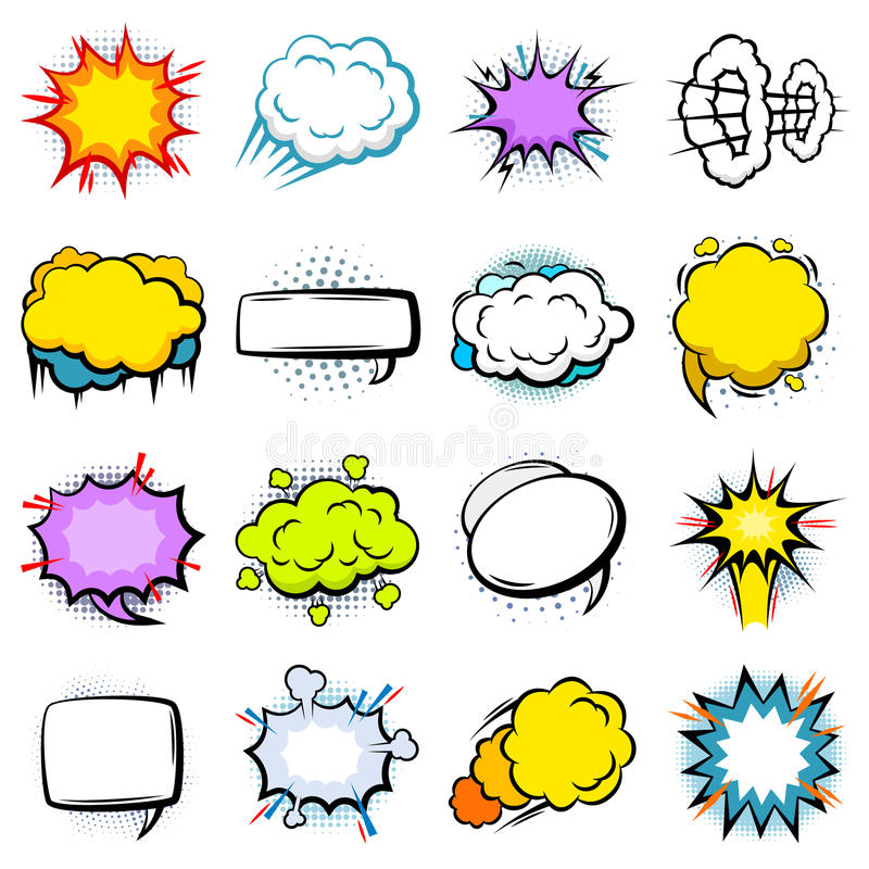 Komiczni Kolorowi wybuch mowy bąble Ustawiający ilustracji