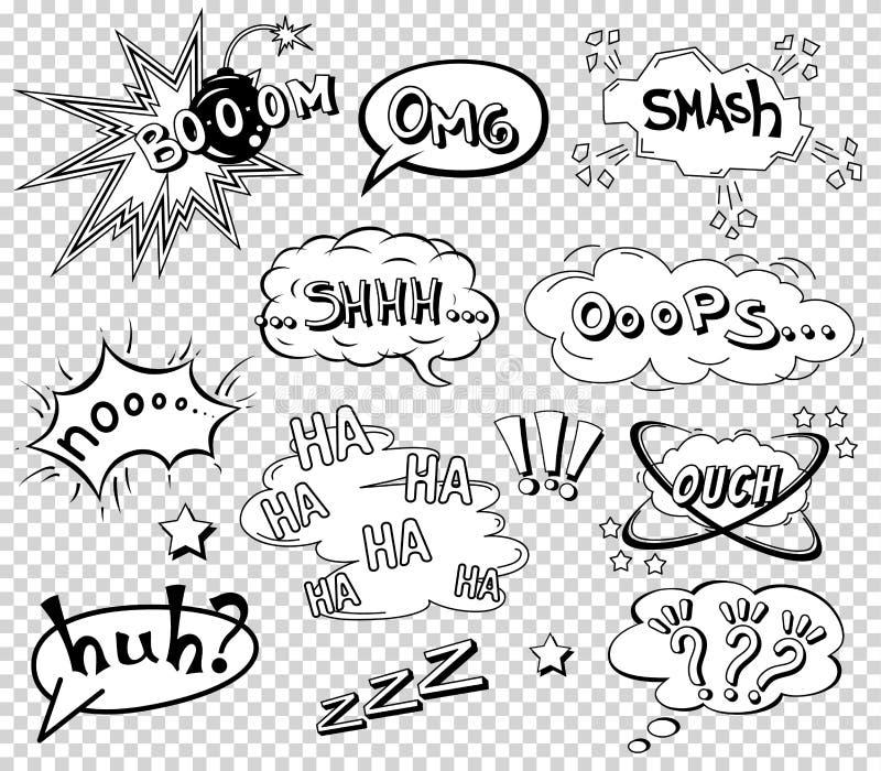 Komiczni mowa bąble ustawiają, formułujący efekta dźwiękowego projekt dla tła, pasek Książkowa uderzenie chmura, pow i chłodno ex royalty ilustracja