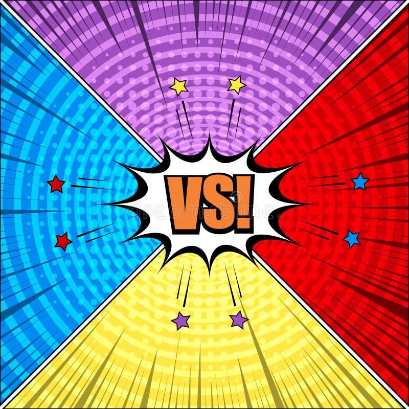 Komiczny środek wybuchowy versus skład ilustracja wektor