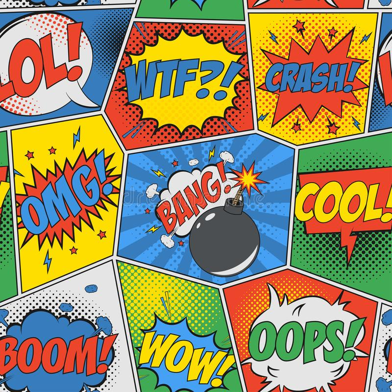 Komiczny bezszwowy tło Wystrzał sztuki retro wzór z mowy bombą i bąblami Tło dla projekta komiczki książka wektor ilustracji