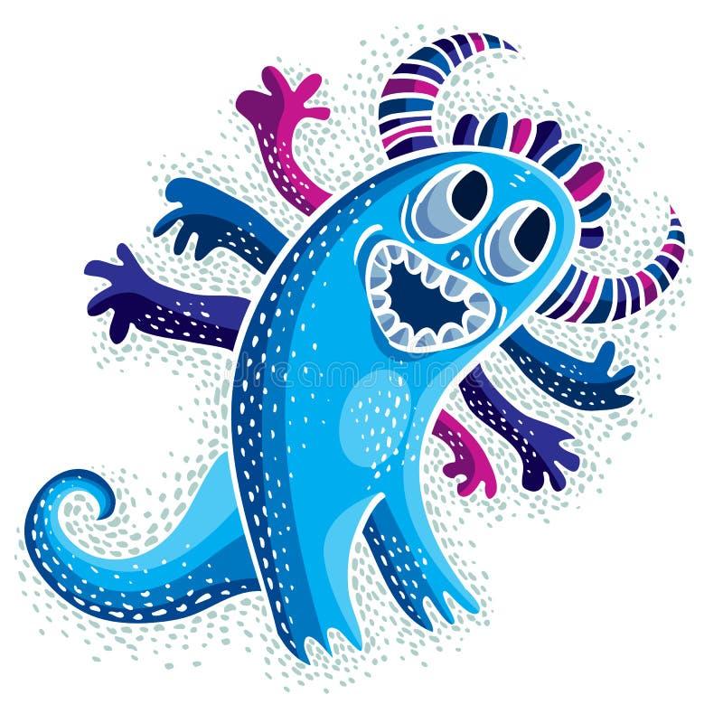Komiczny charakter, wektorowy śmieszny uśmiechnięty obcy błękitny potwór Emotio ilustracji