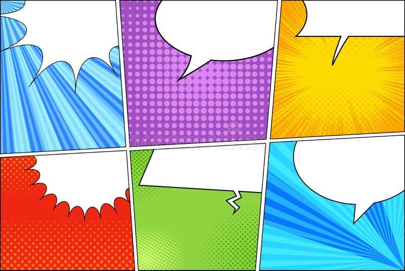 Komiczny kolorowy szablon ilustracja wektor