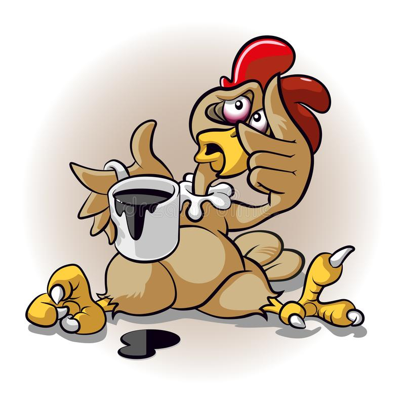 Komiczny kurczak w złym stanie fotografia stock