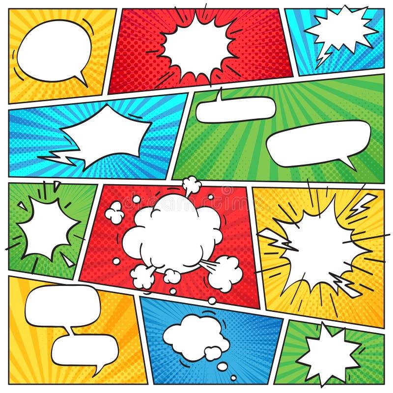Komiczny strona układ Śmieszne komiczki paskowali scrapbook stronę z dymnymi chmurami i mowa bąbli tła retro wektorem royalty ilustracja