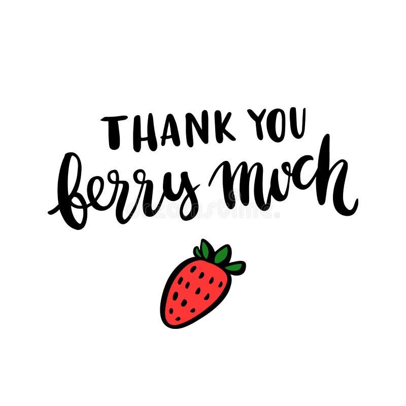 Komiczny wpisowy ` Dziękuje ciebie dużo jagody truskawka i `, ilustracji