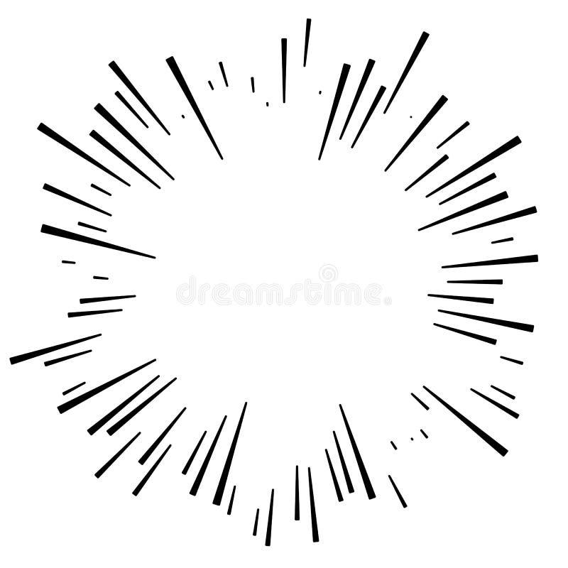 Komiczny wybuchu skutek Promieniujący, promieniowe linie Starburst, sunb royalty ilustracja