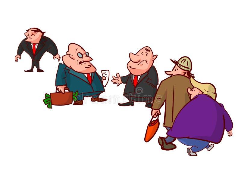 Komiker av korrumperade politiker som ligger royaltyfri illustrationer