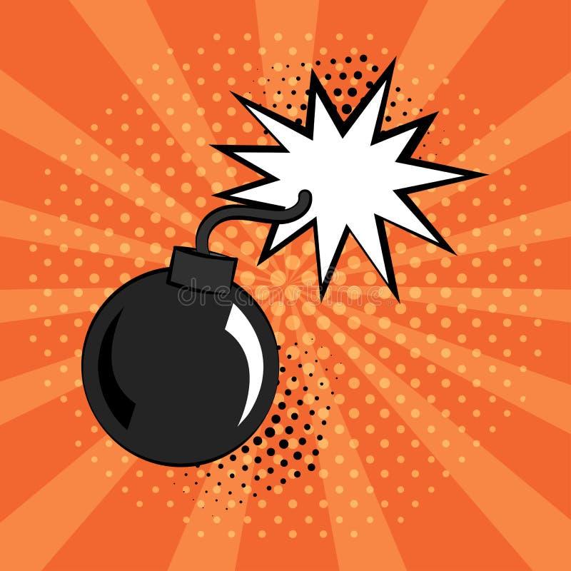 Komiker bombarderar symbolen på orange bakgrund i stil för popkonst vektor vektor illustrationer