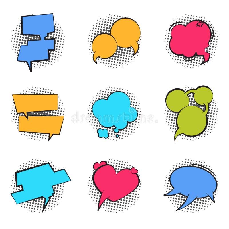 Komiker bubblar Etikett för text för bubbla för dialog för rolig massage för moln för pratstund för samtal för ballong för konst  stock illustrationer