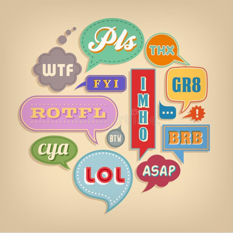 Komiker bubblar med populära akronymer & förkortningar vektor illustrationer