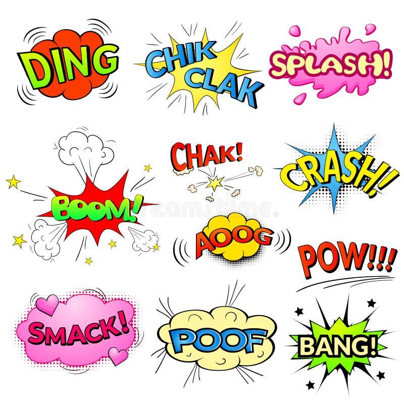Komiker bubblar vektorn isolerade uppsättningen royaltyfri illustrationer