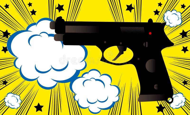 Komiker för mall för baner för bakgrund för bang för vapen för popkonst utformar retro tappning vektor illustrationer