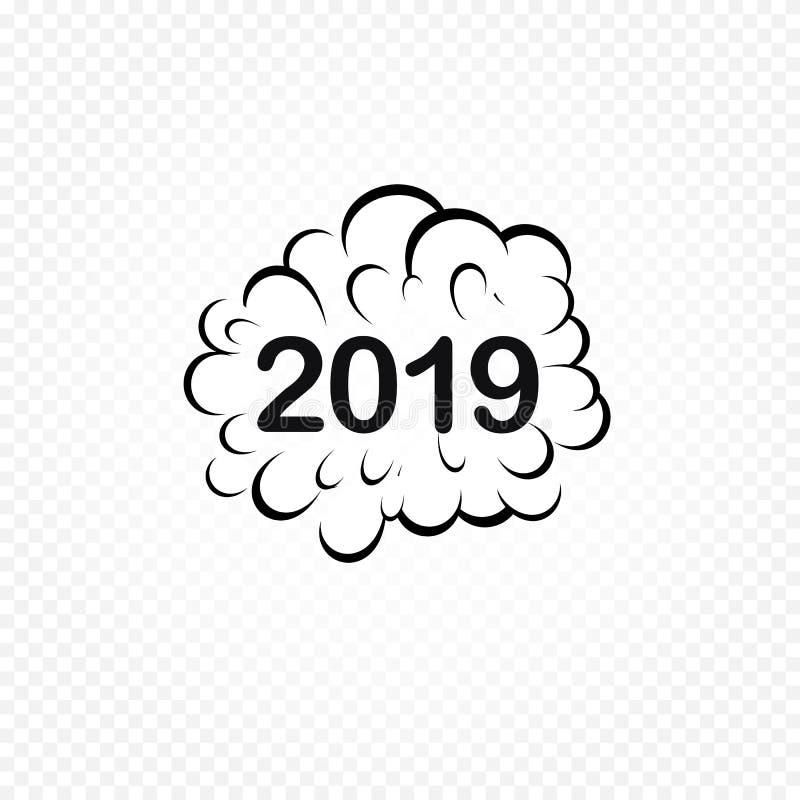 Komikeranförandebubbla 2019 Beståndsdelar för website eller presentation Planlägger roliga komiker för nytt år och för jul bestån vektor illustrationer