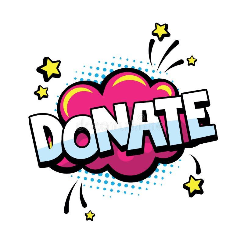 Komikeranförandebubblor med text donerar på det rosa molnet med stjärnor Donera ordet för komiker, blogging som strömmar och royaltyfri illustrationer
