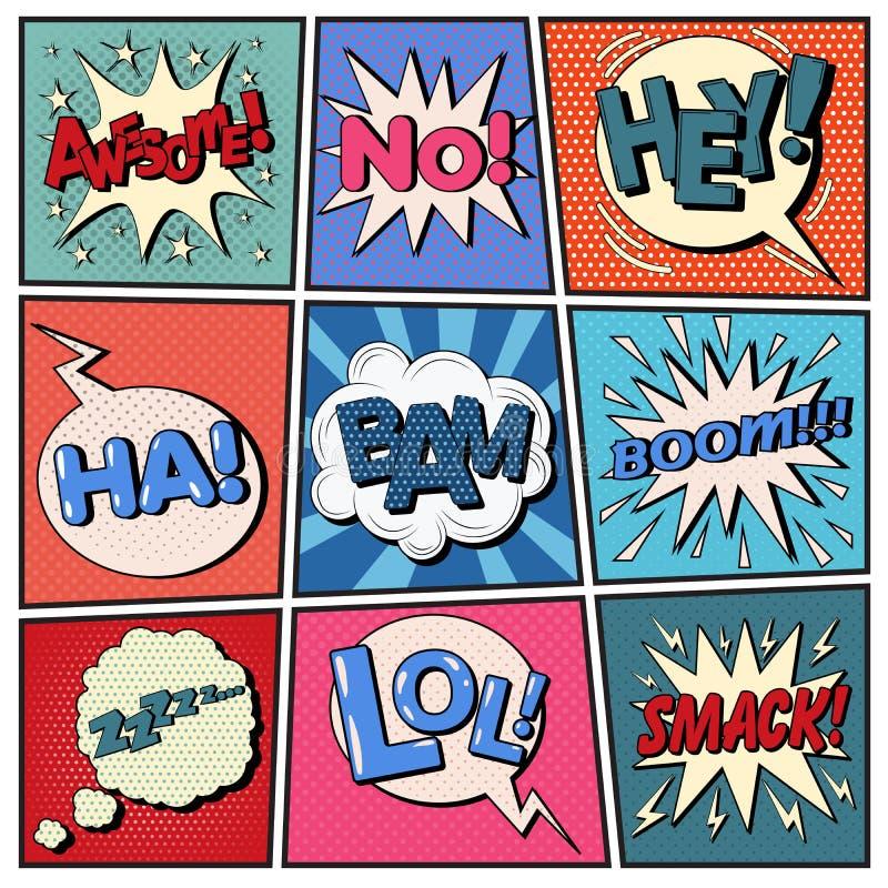Komikerbubblauppsättning Uttryckspopkonst stock illustrationer