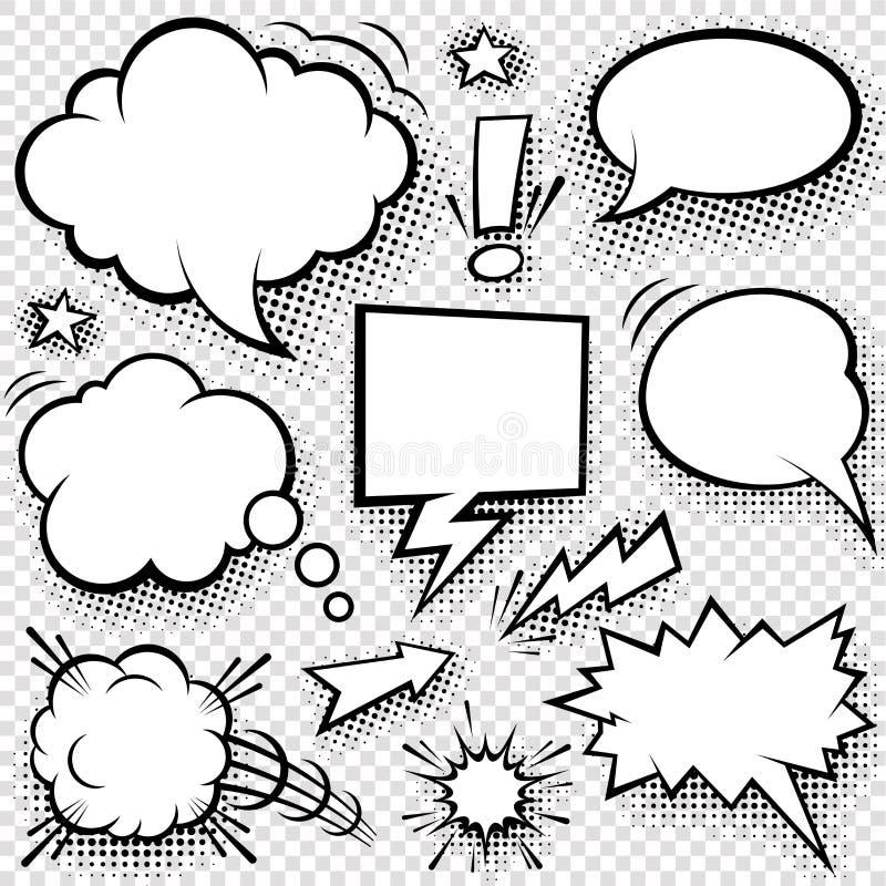 Komikerbubblor och beståndsdelar vektor illustrationer