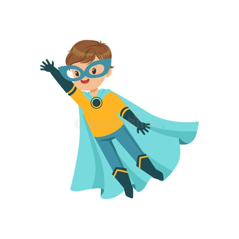 Komikerindiankrigareunge i blått- och gulingsuperherodräkten som flyger med en hand upp karnevaldräkt venice Plan toppen pojke fö royaltyfri illustrationer