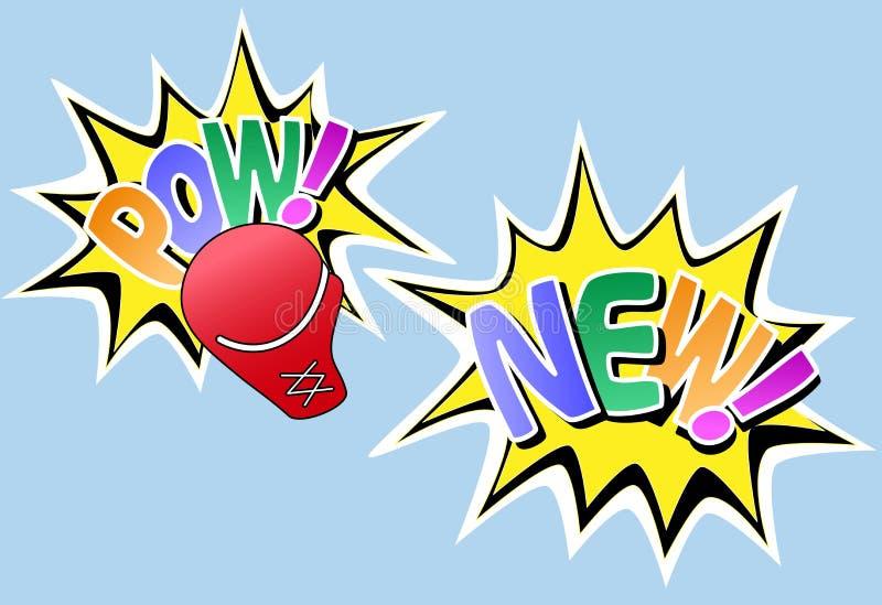 komikern verkställer knockout- ny powstil stock illustrationer