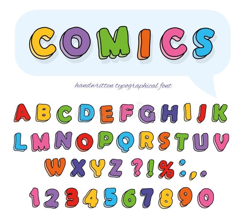 Komikerstilsortsdesign Rolig hand drog bokstäver och nummer stock illustrationer