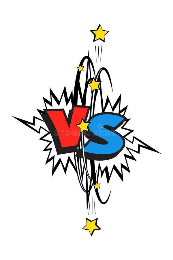 Komiks błękitny i czerwony versus logo Wektor VS ikona royalty ilustracja