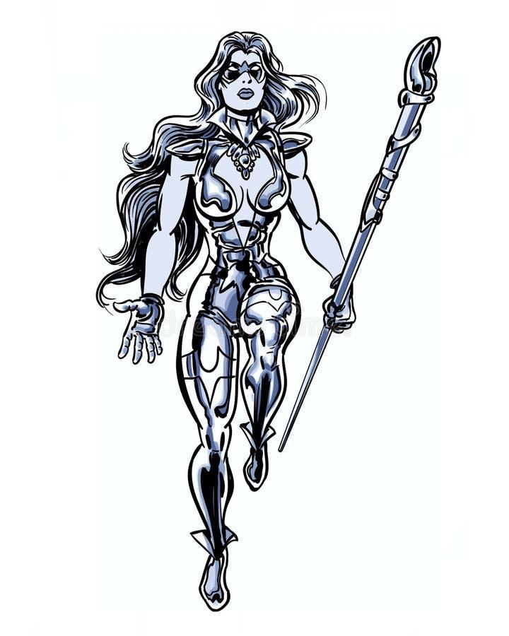 Komiks ilustrująca pozaziemska zasilana srebna kobieta z władza personelem royalty ilustracja