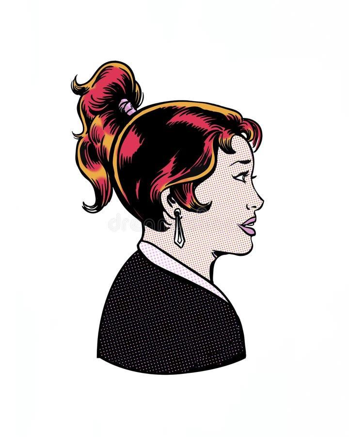 Komiks ilustrujący ładny żeńskiego charakteru profil ilustracji