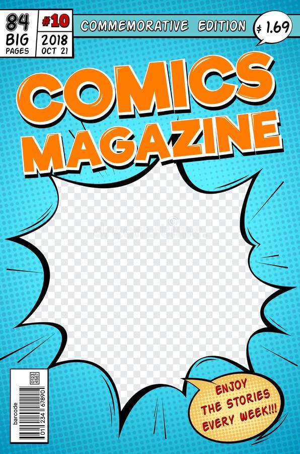 Komiks pokrywa Retro kreskówek komiczek magazyn Wektorowy szablon w wystrzał sztuki stylu royalty ilustracja