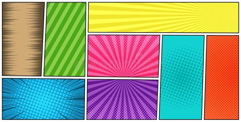 Komiks strony kolorowy horyzontalny szablon royalty ilustracja
