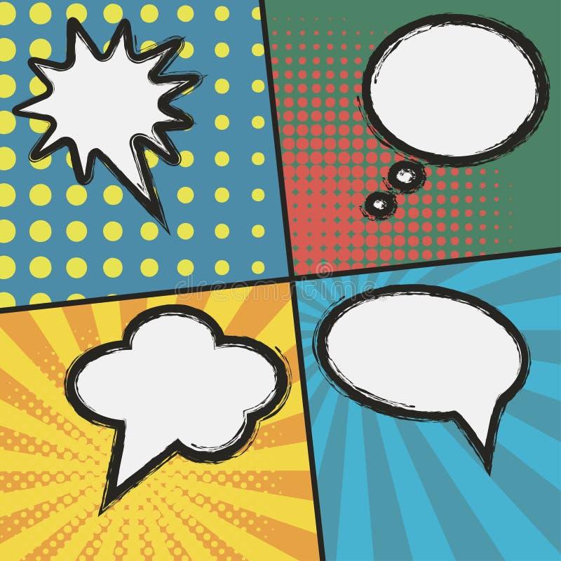 Komiks strony szablon Set bąbel mowa przy sunburst ilustracji