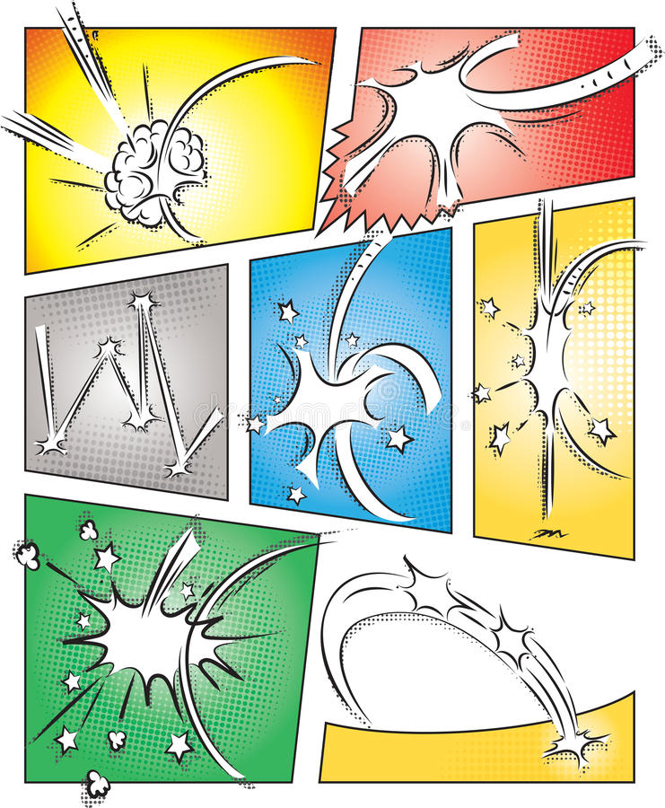 Komiks strony szablon z skutkami ilustracji