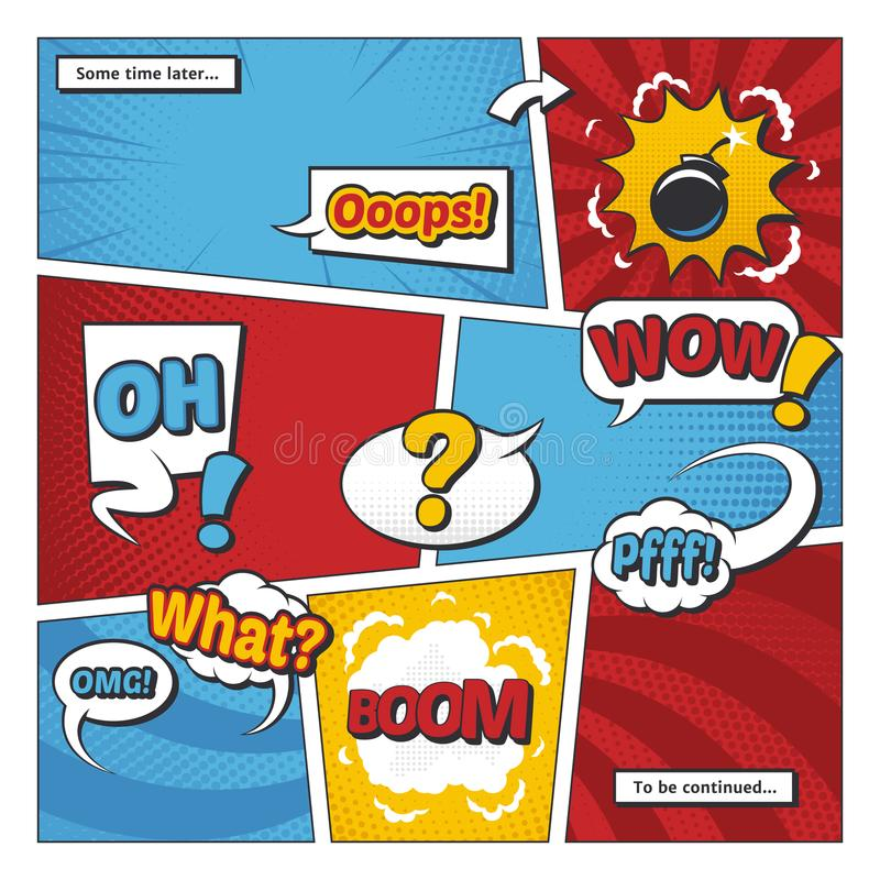 Komiks strony wektorowy szablon z kreskówka elementami i komiczek słowami w bąblach royalty ilustracja