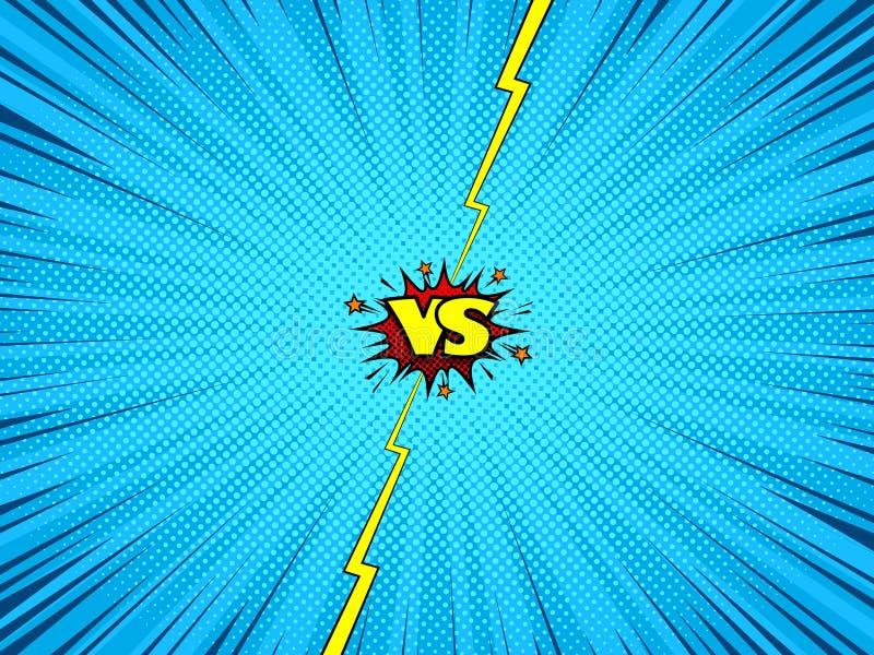Komiks versus batalistyczny tło royalty ilustracja