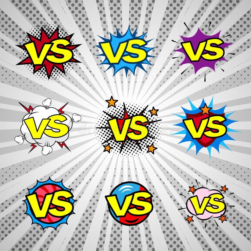 Komiks versus rocznik ikony set, batalistyczny wstęp ilustracja wektor