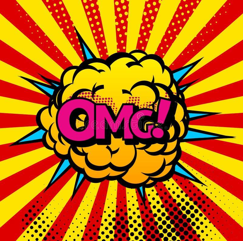 Komiks?w b?ble i d?wi?k?w wybuch?w ikony z s?o?cem promieniej? Wektorowi kreskówka wystrzału sztuki bąble OMG dźwięka huku chmura ilustracji