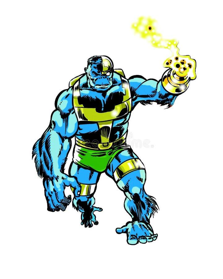 Komiksu charakteru cyborga małpy istota ilustracja wektor