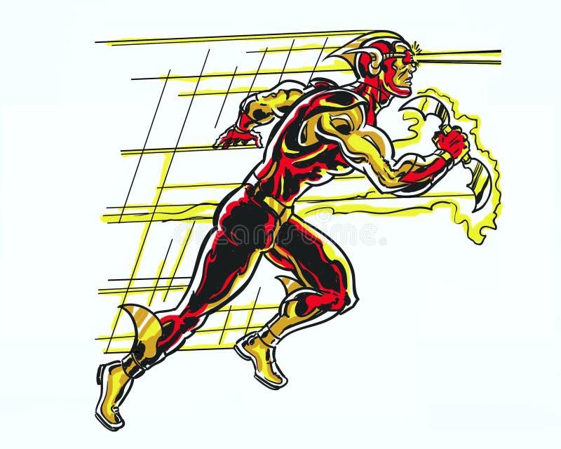 Komiksu ostrza biegacza speedster obrazkowy szybki charakter ilustracji