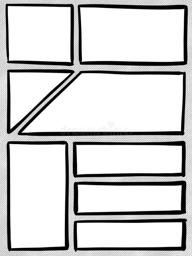 Komiksu pudełka panelu szablonu kreskówki ilustracja royalty ilustracja