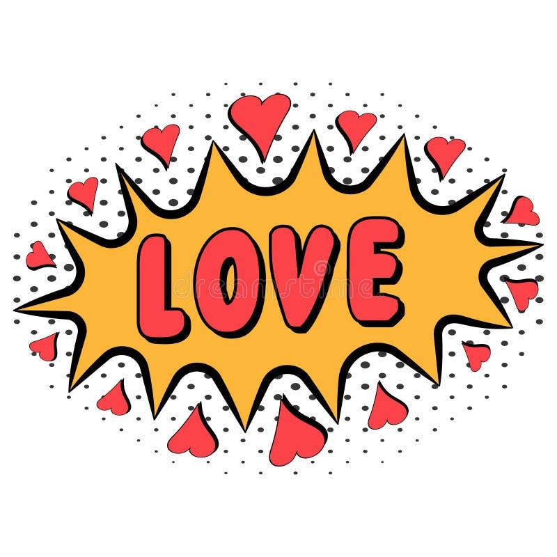 Komiksu słowa miłość z kierowym wystrzał sztuki stylem z halftone skutkiem, wektorowy Komiczny mowa bąbel z wyrażeniową tekst mił ilustracja wektor
