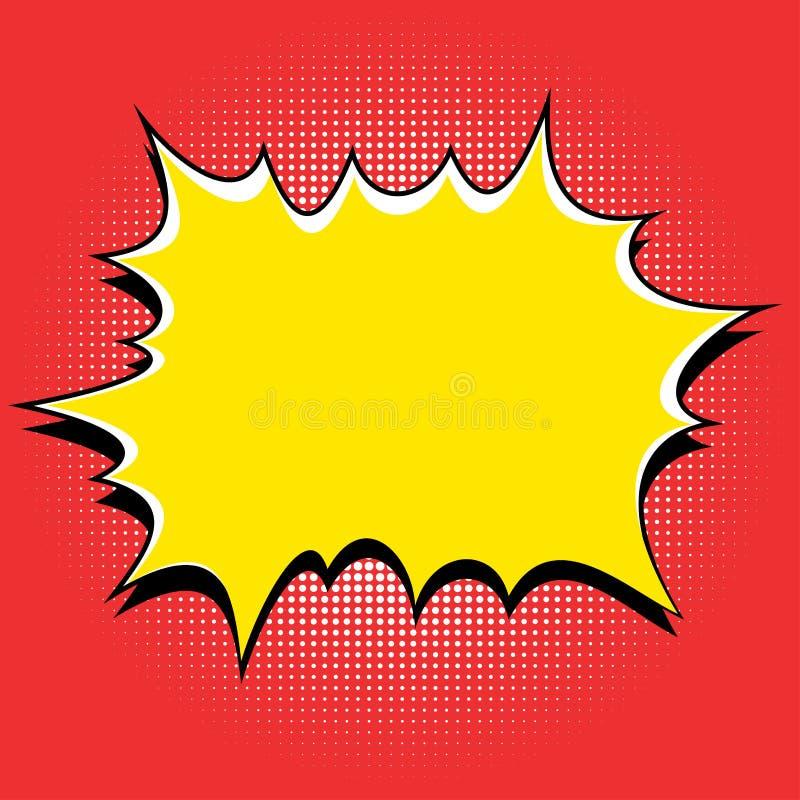 Komiksu stylowy żółty wybuch na czerwonym tle royalty ilustracja