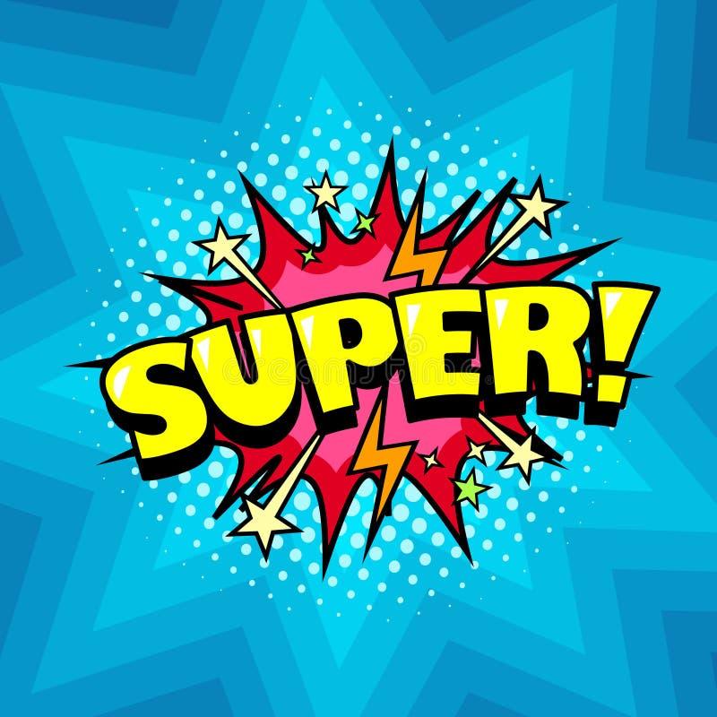 Komiksu tło, bohater mowy bąbel, radosny super royalty ilustracja