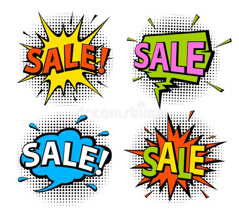 Komiksu wystrzału sztuki stylu zakupy sprzedaży mowa gulgocze ilustracja wektor