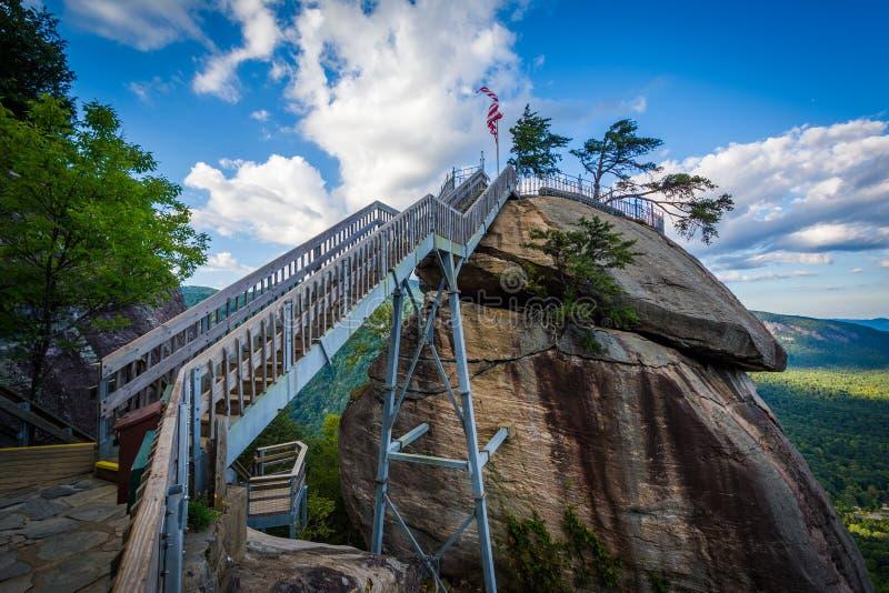 Komin skała przy komin skały stanu parkiem, Pólnocna Karolina zdjęcia royalty free