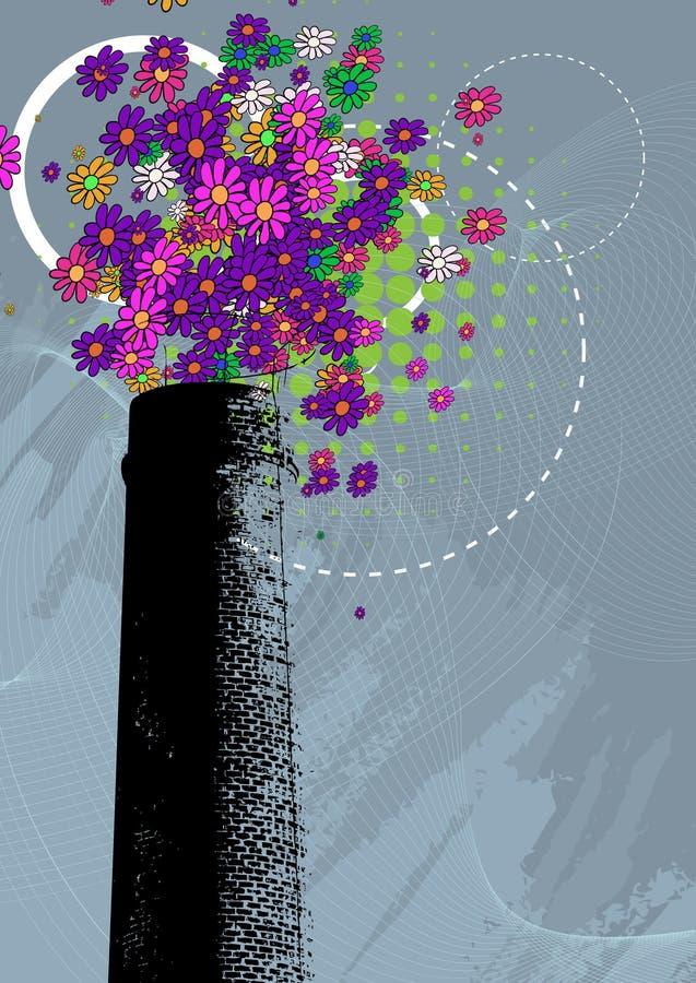 Komin z kolorowym kwiatu dymem ilustracja wektor
